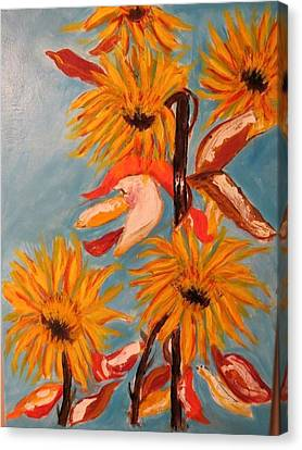Sunflowers At Harvest Canvas Print