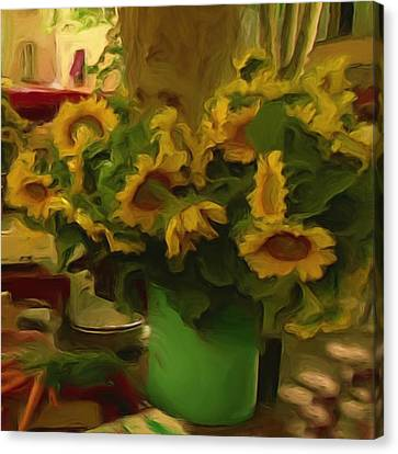 Canvas Print featuring the painting Sunflowers At The Market by Shelley Bain