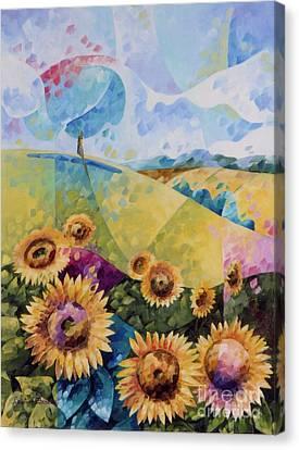 Inspirational. Pointillism Canvas Print - Sunflowers by Beatrice BEDEUR