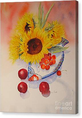 Canvas Print featuring the painting Sunflowers by Beatrice Cloake
