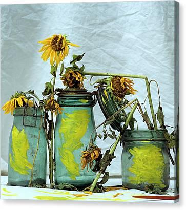 Indoor Still Life Canvas Print - Sunflowers by Bernard Jaubert