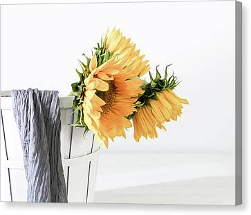 Canvas Print featuring the photograph Sunflowers In A Basket by Kim Hojnacki