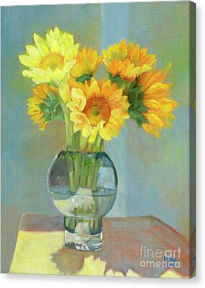 Canvas Print featuring the painting Sunflowers In A Glass Vase Number One by Marlene Book