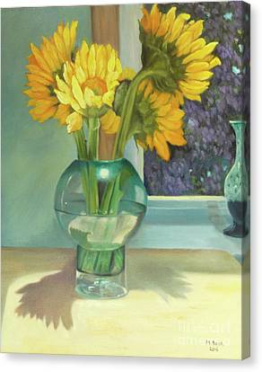 Canvas Print featuring the painting Sunflowers In A Glass Vase Number Three by Marlene Book