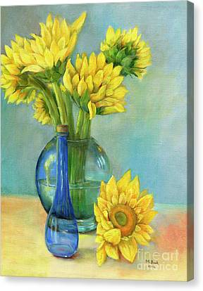 Canvas Print featuring the painting Sunflowers In A Glass Vase Number Two by Marlene Book