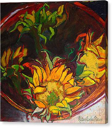 Sunflowers In Bowl Canvas Print by Allison Coelho Picone