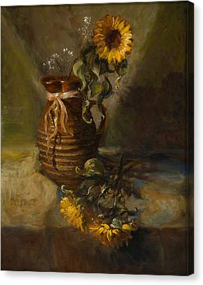 Sunflowers In Clay Pitcher Canvas Print by Sandra Quintus
