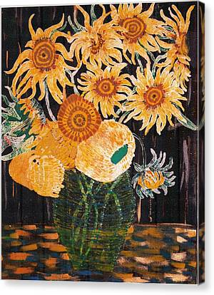 Sunflowers In Clear Vase Canvas Print by Brenda Adams