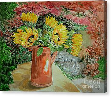 Sunflowers In Copper Canvas Print by Yvonne Johnstone
