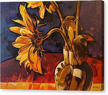 Sunflowers In Italian Vase Take Two Canvas Print by Tim  Heimdal