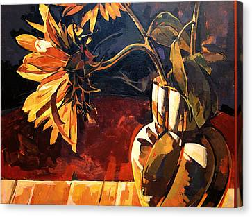 Canvas Print featuring the painting Sunflowers In Italian Vase by Tim  Heimdal