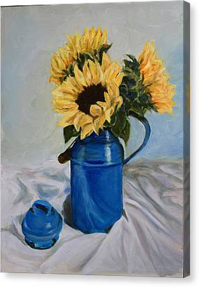 Sunflowers In Milkcan Canvas Print by Sandra Nardone