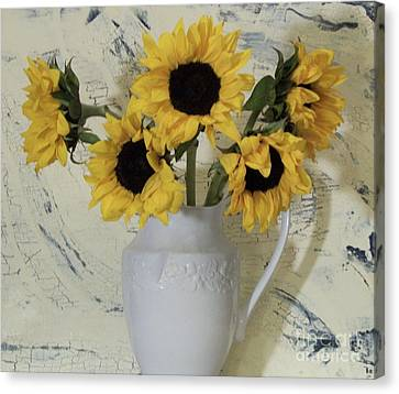 Digital Sunflower Canvas Print - Sunflowers In The Country by Marsha Heiken