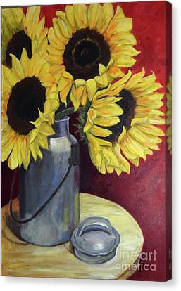 Sunflowers In Tin Milkcan Canvas Print