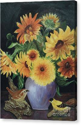 Sunflowers In Vase Canvas Print by Dorothy Weichenthal
