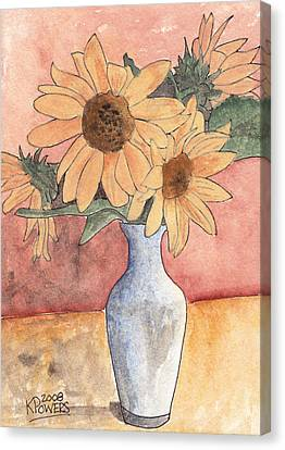 Sunflowers In Vase Sketch Canvas Print by Ken Powers