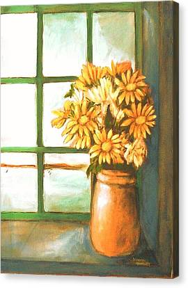 Canvas Print featuring the painting Sunflowers In Window by Winsome Gunning