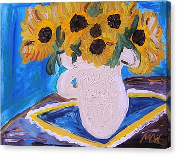 Childlike Canvas Print - Sunflowers Ironstone And Lace by Mary Carol Williams