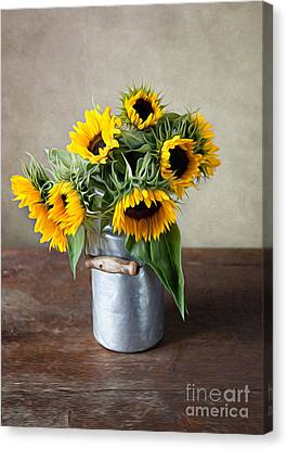 Shiny Canvas Print - Sunflowers by Nailia Schwarz