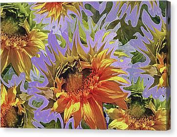 Sunflowers Rising 25 Canvas Print by Lynda Lehmann