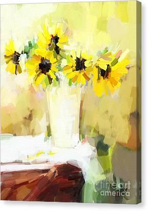 Sunflowers  Study Canvas Print by Carrie Joy Byrnes
