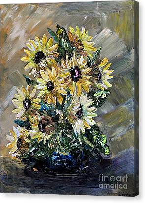 Canvas Print featuring the painting Sunflowers by Teresa Wegrzyn