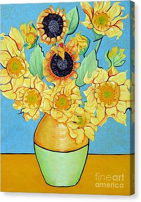 Sunflowers Tribute To Vincent Van Gogh II Canvas Print by Christine Belt