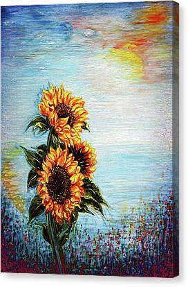 Canvas Print featuring the painting Sunflowers - Where Ocean Meets The Sky by Harsh Malik