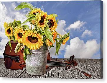 Sunflowers With Violin Canvas Print