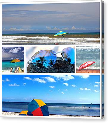 Reflection Of Sun In Clouds Canvas Print - Sunglasses Needed In Paradise by Susanne Van Hulst