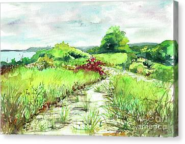 Canvas Print featuring the painting Sunken Meadow, September by Susan Herbst