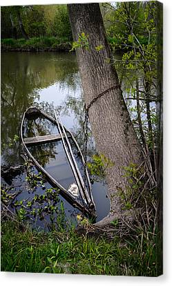 Boats In Water Canvas Print - Sunken Rowboat by Marco Oliveira