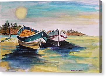 Sunlight On Flat Water Canvas Print by John Williams
