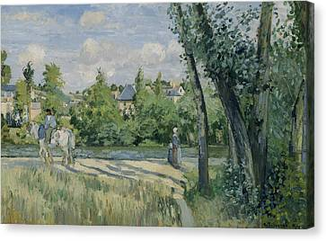 Sunlight On The Road Pontoise Canvas Print by Camille Pissarro