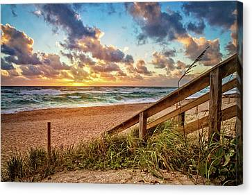 Canvas Print featuring the photograph Sunlight On The Sand by Debra and Dave Vanderlaan