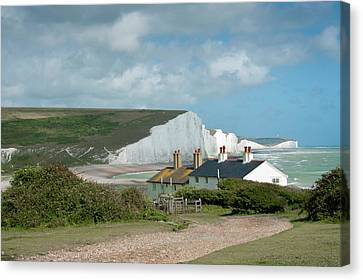 Sunlight On The Seven Sisters Canvas Print by Donald Davis