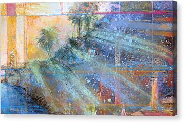 Canvas Print featuring the painting Sunlight Streaks by Andrew King