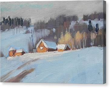 Red Barn In Winter Canvas Print - Sunlight Study by Len Stomski