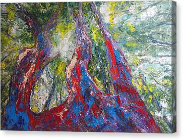 Canvas Print featuring the painting Sunlight Through The Trees by Koro Arandia