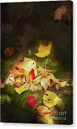 Canvas Print featuring the digital art Sunlit Autumn Leaves On Dark Moss Ap by Dan Carmichael