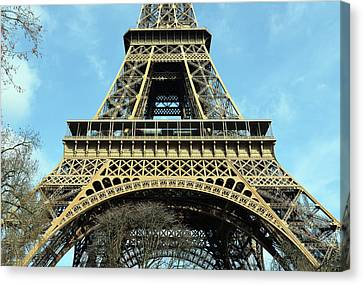Scenics Canvas Print - Sunlit Eiffel Tower First And Second Floors Paris France by Shawn O'Brien