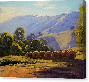 Sunlit Hills Strath Creek  Vic  Australia Canvas Print by Graham Gercken