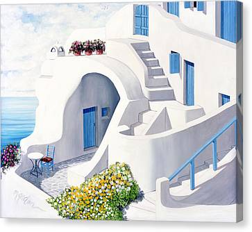 Sunlit In Santorini - Prints Of Original Oil Painting Canvas Print by Mary Grden's Baywood Gallery