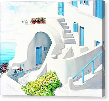 Rooftop Canvas Print - Sunlit In Santorini - Prints Of My Original Oil Painting by Mary Grden Fine Art Oil Painter Baywood Gallery