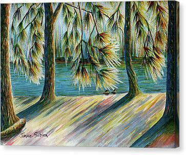 Sunlit Trees Canvas Print by Janice Sobien