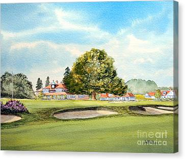 Canvas Print featuring the painting Sunningdale Golf Course 18th Green by Bill Holkham