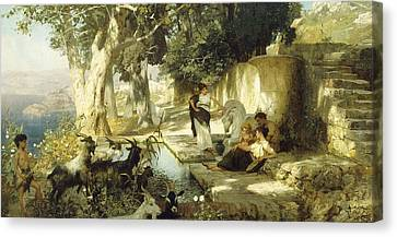 Sunny Afternoon At The Well Canvas Print by Henryk Siemiradzki