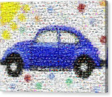 Sunny Blue Vw Bug Mosaic Canvas Print by Paul Van Scott