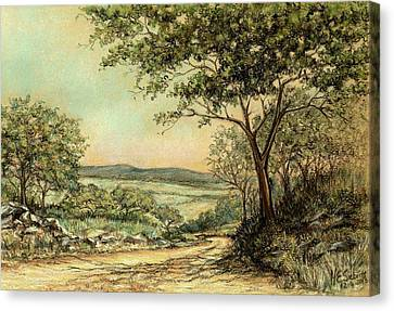 Canvas Print featuring the painting Sunny Bushveld by Heidi Kriel