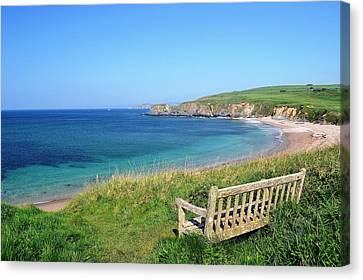Sunny Day At Thurlestone Beach Canvas Print by Photo by Andrew Boxall